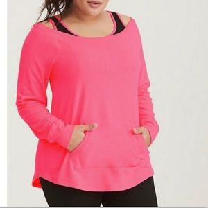 NWT Torrid Hot Pink Off the Shoulder Sweatshirt